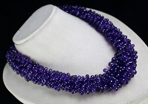 NATURAL PURPLE AMETHYST BEADS TEAR DROPS 1289 CARATS GEMSTONE SILVER NECKLACE