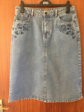 M&S Ladies Denim (Blue with Embroidered Pockets) Knee Length Skirt, Size 10