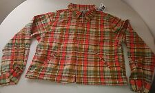 Basic edition womens light weight zip up jacket size 16 plaid multicolor