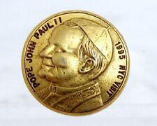 RARE Pope John Paul II 1995 NYC Visit Gold-Tone Commemorative Lapel Pin Pinbacks