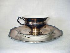 Art Deco Silberporzellan 3 tlg. Teegedeck, Hutschenreuther/Abt.Paul Müller, 30er