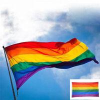 3x5ft Regenbogen Flagge Polyester Flagge Gay Pride Lesben Frieden LGBT mit Ösen