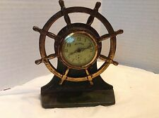 Vintage Reliance E. Ingraham Ships Wheel Cast Iron Desk Clock-Verona Base