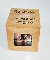Personalised Oak Wooden Photo Box Keepsake Cube Box Engraved - Grandad & Me