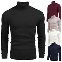 NEW Mens WINTER Warm Knitted Roll Turtle Neck Pullover Sweater Tops Knitwear