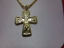 "14 KT GOLD EP  AVE MARIA CATHOLIC CROSS  &2.5MM 18""  ROPE-3064,LIFETIME GUARANTY"