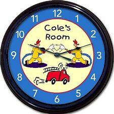 """Fire Fighter Fireman Engine Truck Hose Custom Personalized Wall Clock  New 10"""""""