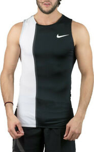 Nike Pro Men's PX 2.0 White/Black Fitted Tank (AH7993-100) Size S NWT