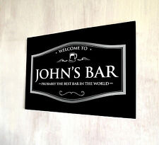 Personalised Metal Sign any name Welcome Best Bar Black Beer Label A4