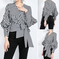 ZANZEA Women Long Sleeve Plaid Check Blouse Tunics Bowknot Shirt Tops Plus Size