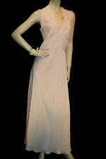 L Unworn Blush Pink Lace Vtg 40s Silky Bias Cut Long Nightgown Old Hollywood