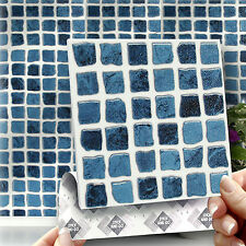 8 Blue Mosaic Stick On Wall Tile Stickers Transfers For Kitchens Bathrooms