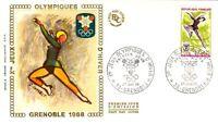 Enveloppe Premier Jour 27/1/1968 Jeux Olympiques Grenoble patinage + vignette