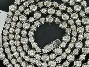 """2.0 CT. tw Diamond 1 Row Rosary Mens Chain Sterling Silver White Gold Finish 34"""""""