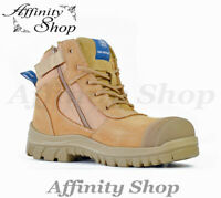 Bata Zippy Work Boots Wheat with Zip Industrial Safety Footwear Steel Cap AS/NZS