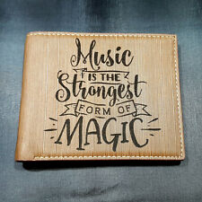 Music is Magic Men's Wallet Laser Engraved Music Lover Gift