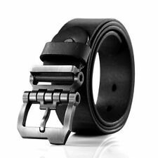 Men Top Grain Genuine Cowhide Leather Casual Dress Jean Belt Gunmetal Buckle