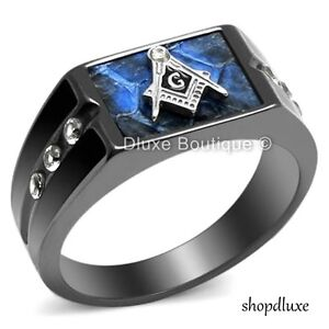 MEN'S BLUE AGATE CZ STAINLESS STEEL MASONIC LODGE FREEMASON RING SIZE 8-14