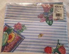 "New listing Garden secrets fruit powder blue stripe mix print tablecloth 60"" x 84"""