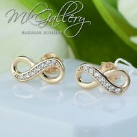 925 STERLING SILVER EARRINGS STUDS WITH ZIRCONIA - INFINITY ROSE GOLD PLATED