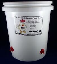 Deluxe 4 HORIZONTAL  NIPPLE Chicken Waterer 5 Gallon - Manual FIll / DUAL  MOUNT