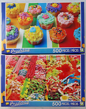 jigsaw puzzle lot of 2 Puzzlebug 500 pc Colorful Cupcakes & Candy Stand Barcelon