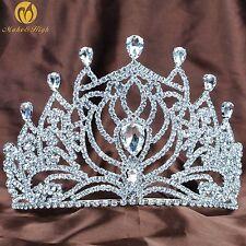 Flower Bridesmaid Tiara Crown Clear Crystal Veil Wedding Bridal Beauty Pageant