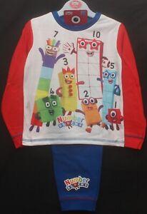 Boy's NUMBERBLOCKS Pyjamas / Red & Blue Long-Sleeved PJs Sizes 18 months-5 years