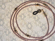 """Beaded Eyeglass Chain~Solid Gold~Crystal Accents~28"""" Fancy Ends~Buy 3 SHIP FREE"""
