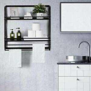 2 Tiers Wall Mounted Towel Rail Black Metal Bathroom Shelf Storage Holder Rack