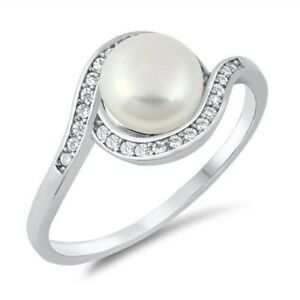 Freshwater Pearl Clear CZ Ring Genuine Sterling Silver 925 Face Height 10 Size 5
