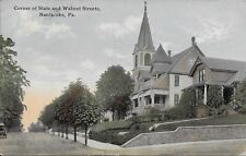 Corner of State and Walnut Streets Nanticoke PA handsome vintage postcard 1916
