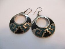 NAVAJO EARRINGS CHIPPED TURQUOISE ALPACA HAND MADE VINTAGE