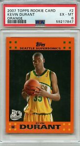 2007 Topps Rookie Card Orange #2 Kevin Durant Supersonics RC PSA 6 EX-MT