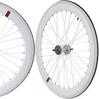 Fixie Freewheel Single Speed Wheel Wheelset 50mm Deep White