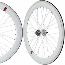Fixie Freewheel Single Speed Wheel Wheelset 50mm Deep White