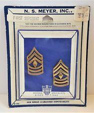 US ARMY FIRST SERGEANT Rank Vietnam Era Pins Uniform Insignia NS Meyer Vintage