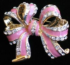 SOFT PINK RHINESTONE BREAST CANCER VALENTINES BIRTHDAY CELEBRATE BOW PIN BROOCH