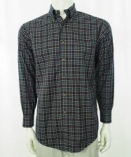 Brooks Brothers Navy Blue Striped Plaid Button Shirt Mens Small