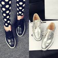 Sliver Women Brogues Wing tip Lace Up Platform Oxfords Dress Creeper Punk Shoes