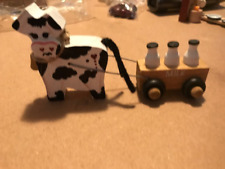 Wood Cow pull milk wagon primitive country kitchen shelf sitter home decor sign