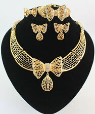 Women Gold Plated Crystal Butterfly African Necklace Wedding Bridal Jewelry Set