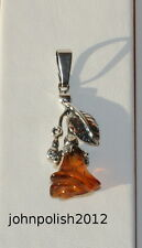 Lovely Baltic Amber Rose Pendant with Silver 925