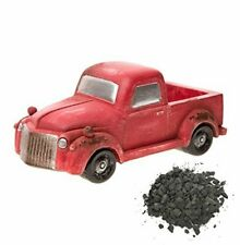 """New listing Fairy Garden Mini Old-Fashioned Red Pickup Truck with Small Load of """"Crushed G."""