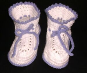ADULT BABY BOOTIES CROCHET ONE SIZE FITS ALL  BABY WHITE WITH BABY LILAC TRIM