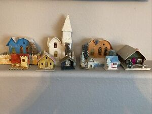 VINTAGE MARKED JAPAN PUTZ HOUSES AND CHURCH And Log Cabin
