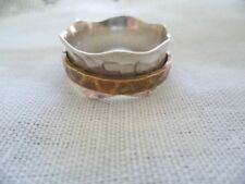 VINTAGE HANDMADE HAMMERED STERLING SILVER COPPER SPINNER RING LARGE SIZE 12 or Y