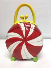 Apple Tree Holiday Peppermint Purse Ceramic Cookie Jar Christmas Kitchen Home