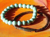 Mens / Ladies 8mm Gemstone Beaded Bracelet Set - Turquoise & Leather Bracelets.