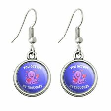 Funny Humor Dangling Drop Charm Earrings You Octopi My Thoughts Occupy Octopus
